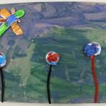 Tissue paper Flower Art Project